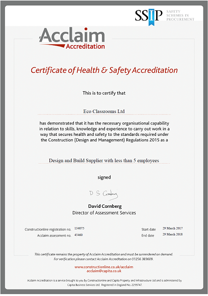 Demonstrating Excellence in Health and Safety and Quality Assurance Acclaim Accreditation Secured